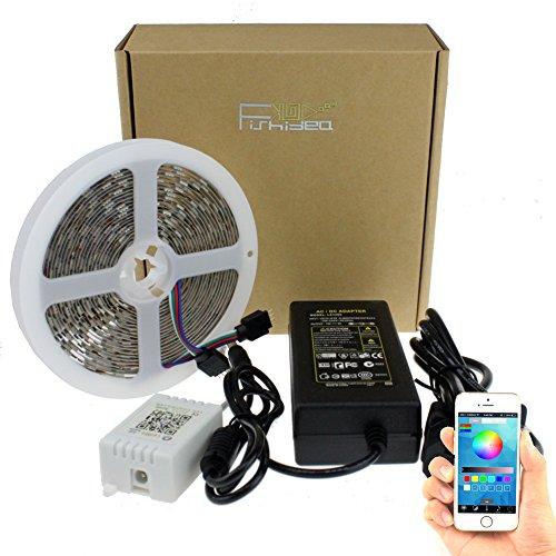 fishidea striscia LED 5050RGB mutil-color con controller Bluetooth da App per Android IOS, RGB, Waterproof(IP65)