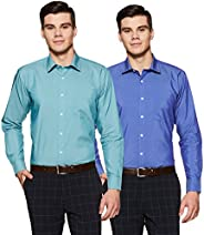 Amazon Brand - Symbol Men's Solid Regular Fit Full Sleeve Formal Shirt (Combo Pack o