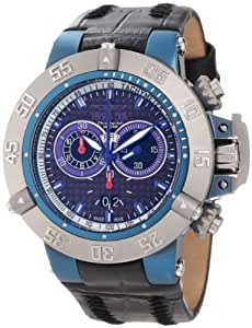 Invicta Men's 50mm Black Leather Band Steel Case Swiss Quartz Carbon Fiber Dial Chronograph Watch 10199