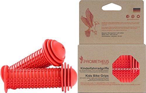 Prometheus Kinderfahrradgriffe in Rot mit Sicherheits - Prallschutz auch für Laufrad Roller - 22 mm Lenkergriffe Edition 2019