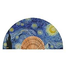 Van Gogh Éventail en Toile à Motif Nuit étoilée de