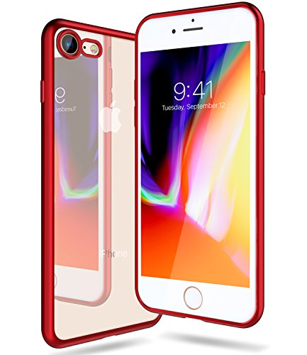 iPhone 8 Hülle, iPhone 7 Hülle,TORRAS Ultra Dünne Durchsichtig zurück Silikon Schutzhülle [Anti-kratzfeste] Transparent TPU Plating Bumper Case Soft Clear Handyhülle für iPhone 8 / iPhone 7 - Gold Rot