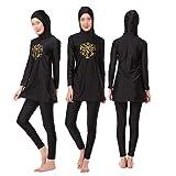 Swallowuk Damen Muslim Abaya Dubai Muslimische Islamische Burkini Badeanzug Bademode Badebekleidung Schwimmanzug Swimsuit Lange Ärmel Arabische Indien Türkische Kleidung (XS, Schwarz)