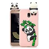 HUDDU Compatible for Weihnachten Motiv Panda Handyhülle Samsung Galaxy J3 2017 J330 Silikon Hülle Karikatur Muster Handyschale TPU Tasche Case Cover Ultra Dünn Schutzhülle - Pink