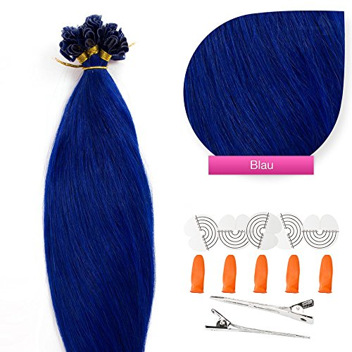 Tip Keratin Extensions Hair U (Keratin Bonding Hair Extensions 100% Echthaar Haarverlängerung (#Blau Blue – 50 Strähnen 0,5g – 60cm) U-Tip Nail Extension Remy Qualität Keratinbondings Gratis Zubehör by GlamXtensions)
