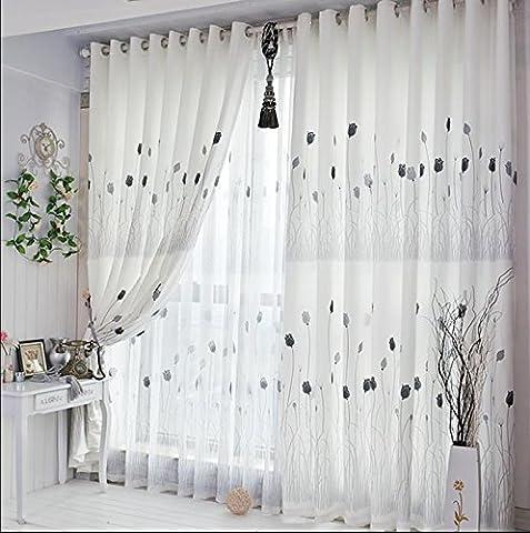 1pièce Sheer fenêtre Voilage à œillet à panneaux (Blanc) salle de séjour/chambre à coucher/balcon–199,9x 269,2cm