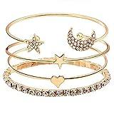 Moda Accessories - Crystal Four-piece stylish bracelet for Women & Girls (Gold)