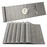 U'Artlines 6er Set Platzsets Hitzebeständigen Waschbaren Vinyl Tischsets 30 * 45cm Schwarz (6+1, Silber-Grau)