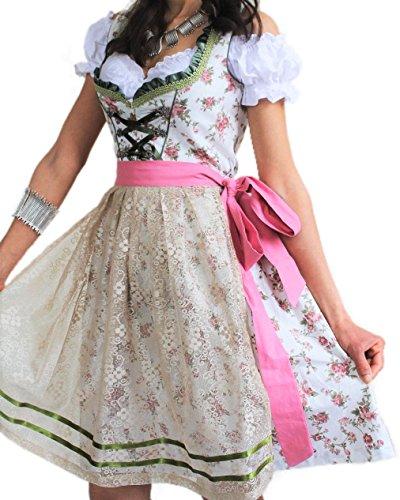 Bavarian Clothes Dirndl Damen Set 3 Teilig Grün Rosa Gr 34 36 38 40 42 44 Festliches Midi Dirndl Trachtenkleid mit Satinschürze 3 TLG Oktoberfest