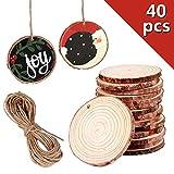 Holzscheiben 40 Stücke Natürliche Holz Log Scheiben mit Loch 5-6 cm mit 10 mt Jute Twine für DIY Handwerk Malerei Hochzeit Mittelstücke Weihnachten Dekoration Tischdeko (40 Stücke, 5-6 cm)