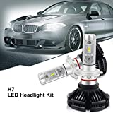 H7 LED, 12000LM X3 Version Super Bright High Power Philip-Zes Chips LED Headlight Conversion Kit Fai da te 3 Colori Oro Bianco Ice Blue Fit 3000 K/ 6000K/ 8500K (1 paio)