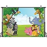 Lywygg Fond du zoo Photographie 2,1x 1,5m Dessin animé animaux de safari Fond Joyeux anniversaire Photographie Fond Faune Jungle Wildlife Zoo sur le thème Décoration de fête Photo Studio Props Cp-4