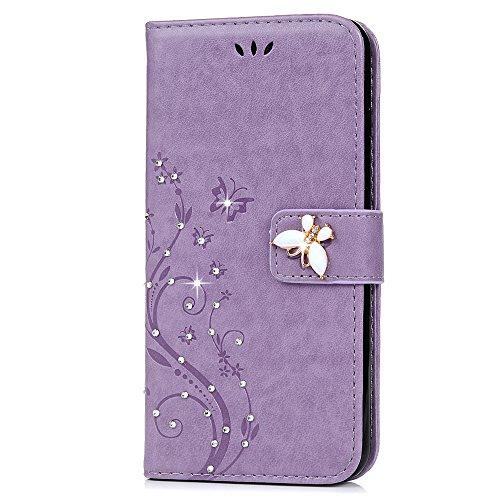 """Mavis's Diary Étui iPhone 7 (4.7"""") Coque en Cuir Violet Imprimé Fleur Bling Strass Papillon Housse Portefeuille Fente de Carte Étui à Rabat Fermeture Magnétique Flip Phone Case Cover+Chiffon violet"""