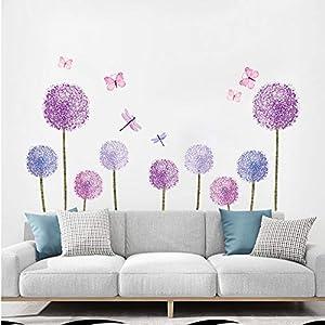 ufengke Wandtattoos Löwenzahn Lila Wandsticker Wandaufkleber Pusteblume Blumen Schmetterlinge für kinderzimmer Mädchen Wohnzimmer Flur