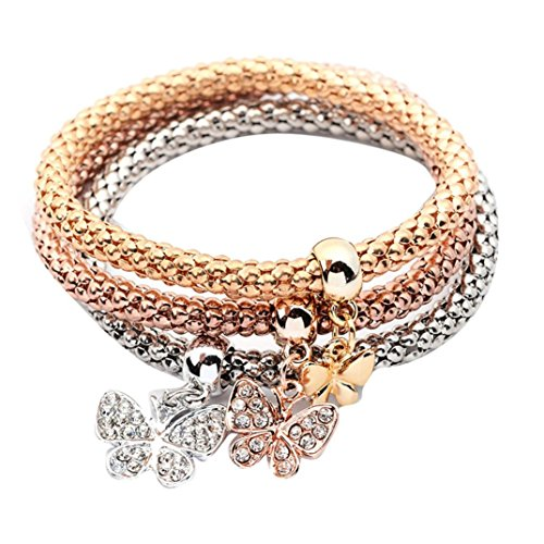 *Sunnywill 3 Stück Pulseiras Schmetterling Anhänger Armband Mode mehrschichtigen Armband für Frauen Mädchen Damen*