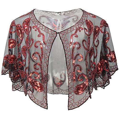 ArtiDeco 1920er Jahre Retro Schal Umschlagtücher für Abendkleider Stola für Hochzeit Party Gatsby Kostüm Accessoires (Rot)