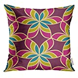 Ntpclsuits Throw Pillow Cover Morrocan Floral Design Oriental with Abstract Flowers Hexagonal Trefoil Swatch Stained Glass Vitrage Decorative Pillow Case Home Decor Square 18x18 Inches Pillowcase