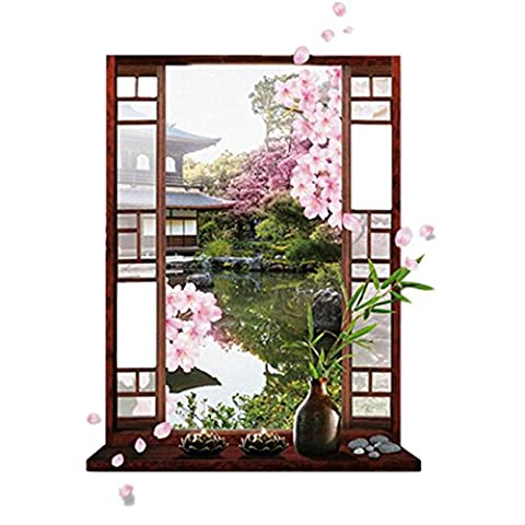 En PVC 3D Peach Blossom fenêtre Paysage Sticker mural amovible pour chambre salon