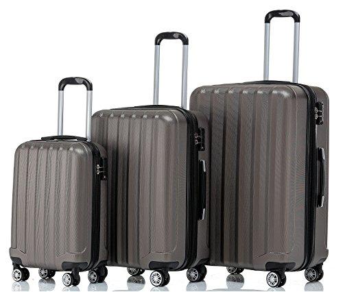 BEIBYE TSA-Schloß 2080 Hangepäck Zwillingsrollen neu Reisekoffer Koffer Trolley Hartschale Set-XL-L-M(Boardcase) in 12 Farben (Coffee, Set)