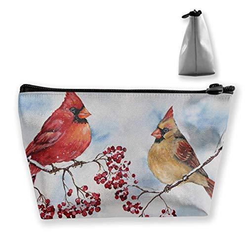Trapez Kulturbeutel Tragbare Reisetasche Kardinal Winter Berries Painting Makeup Bag -