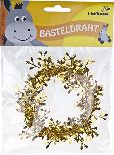 i-mondi Basteldraht mit Sternen, 1 Stück, Länge: 2,75 m, Gold
