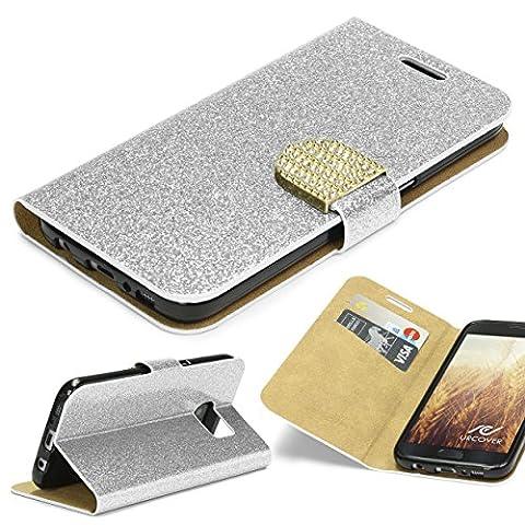 URCOVER Coque Portefeuille Housse Pochette Glittery Diamant pour Samsung Galaxy S7   Wallet Case Étui a Rabat avec Strass Scintillantes et Pailletté en Argent
