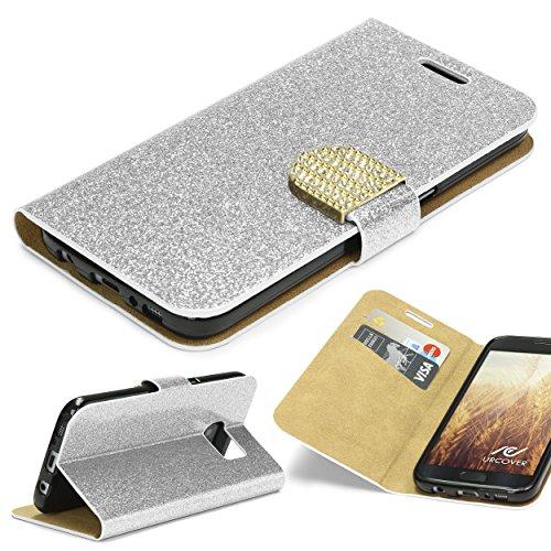 URCOVER Coque Portefeuille Housse Pochette Glittery Diamant pour Samsung Galaxy S7 | Wallet Case Étui a Rabat avec Strass Scintillantes et Pailletté en Argent