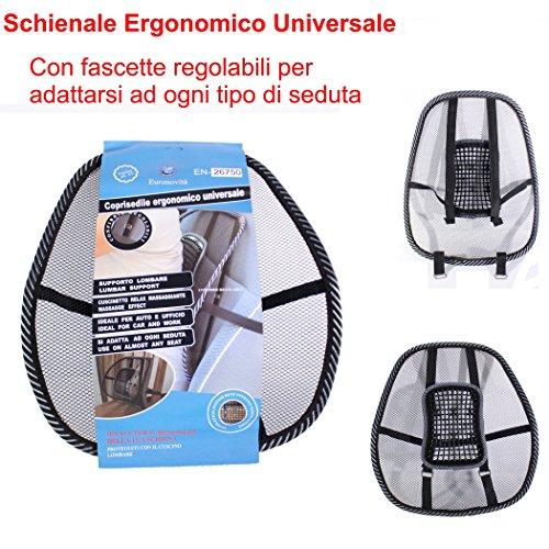 Newsbenessere.com 51cPQb4KIOL EURONOVITA' ® Schienale ergonomico supporto lombare con fascette regolabili per sedie sedile auto e poltrona da ufficio