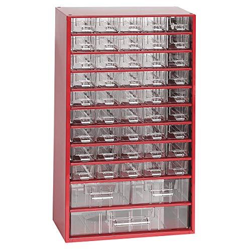 Certeo Schubladenmagazin aus Stahl | HxBxT - 551 x 306 x 155 mm | 48 transparente Schubladen - 3 Größen| Gehäuse kaminrot| Kleinteilemagazin Klarsichtmagazin