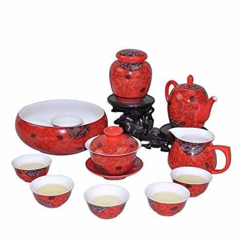SSBY Cinese di smalto rosso wedding Orchid vine fiori in ceramica set