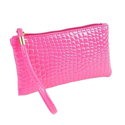 Damen Clutch Piebo Frauen Tasche Abendtasche Krokodil Muster PU Leder Envelope Handtasche Schultertasche Unterarmtasche Damentasche (HeißRosa)