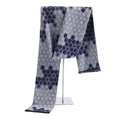 QJIAXING Männer Schals Silk Cashmere Mode Rhombus Plaid Business Halstuch mit Geschenkbox 180 * 30 cm , c , 180*30cm (Hahnentritt Wolle-mischung)
