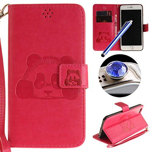 Etsue Handytasche für iPhone 6S/iPhone 6 (4.7 Zoll) lila, Brieftasche Hülle für iPhone 6S/iPhone 6 (4.7 Zoll) [Mädchen Schmetterling] Muster Lederhülle Handyhülle Einzigartig Flip Hülle Leder Schutzhü Karikatur Panda,Hot Pink