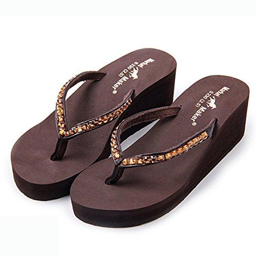 Pantofola Da Donna Con Infradito Estivo Con Sandali Con Zeppa,Brown,38