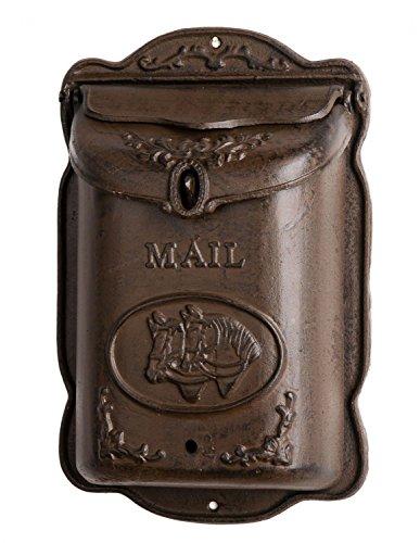 Briefkasten Wandbriefkasten Gusseisen antik Stil Landhausstil Pferd Shabby braun