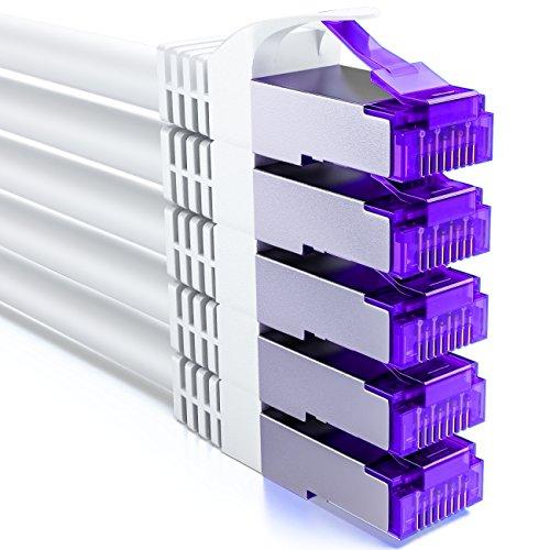 deleyCON 5X 1m RJ45 Patchkabel Set Ethernetkabel Netzwerkkabel mit CAT7 Rohkabel S-FTP PiMF Schirmung Gigabit LAN Kabel SFTP Kupfer DSL Switch Router Patchpanel - Weiß