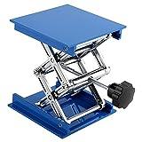 Mesas elevadoras, Azul Plataforma elevadora de laboratorio de aluminio galvanizado Estante de soporte Tijera Gato Levantador 100 x 100 mm Estante de elevación de laboratorio