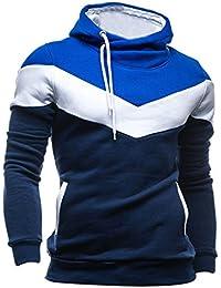 SODIAL (R) Nueva Otono Invierno mosaico con capucha delgado grueso sudadera de vellon ropa de hombre Azul marino - XL