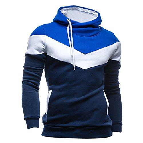SODIAL (R) Nuovo Autunno & Inverno banda trapuntata con cappuccio blu jeans Slim Fit felpa abbigliamento da uomo blu marino M