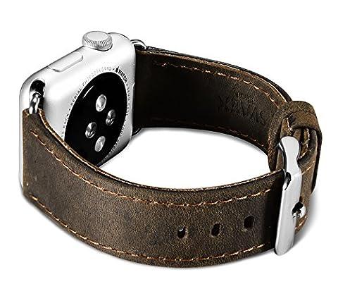 Montre Apple Séries 1 & 2 & 3, Bracelet SVAEX 42 mm en cuir véritable Crazy Horse. Bracelet de remplacement avec boucle en métal - Adaptateurs inclus - Marron Foncé