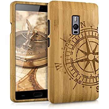 new arrival 43332 cce22 kwmobile OnePlus 2 Bamboo Wood Case - Natural Solid Hard Wooden Protective  Cover for OnePlus 2