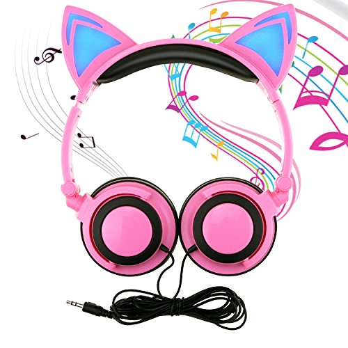 Price comparison product image KEBIDU Cat Ear Headphones with Glowing Ears,  Cartoon Headphones for Kids,  Foldable Ear Kids Headphone with Glowing Light for Girls Cosplay Fans,  Compatible with iPhone