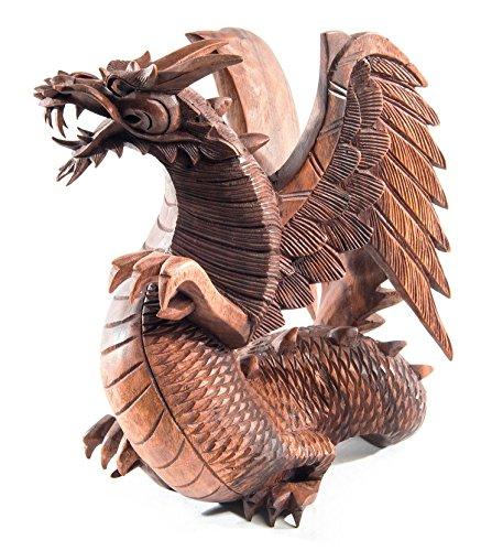 Windalf Holzfigur Drache BRAINN h: 30 cm Stehend mit Flügeln Handarbeit aus Holz