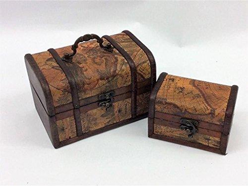 Lot de 2 coffres au trésor Pirate en bois Vintage Colonial Carte design Boîte de rangement