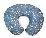 """Chicco 04079902830000 BOPPY - Cuscino per allattamento con rivestimento in cotone, motivo""""Parole e stelle"""", colore: Blu"""
