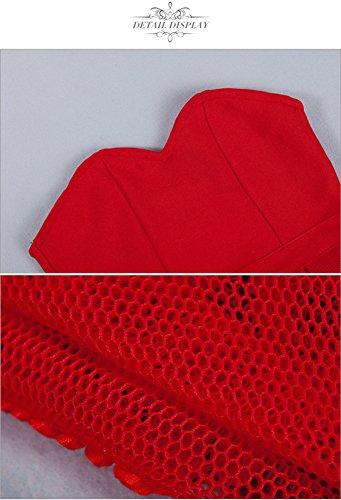 Whoinshop Damen Bustier Schulterfrei Brautkleider Bodycon Bandage A-line Kleid Figurbetontes Trägerlos Partykleider Rot