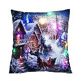 Weihnachtskissenbezug SNUG STAR LED Beleuchtung Baumwoll Leinen Dekorative Kissenbezug für Sofa Home Decor 18 X 18