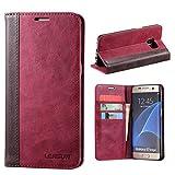 Lensun Kompatibel mit Handyhülle Handytasche Samsung Galaxy S7 Edge (5.5 Zoll) Leder Tasche Huelle Flip Case Ledertasche Schutzhülle - Wein Rot