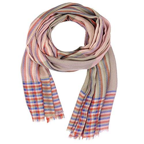 Holzkohle Grau Streifen (KASHFAB Kashmir Frauen Herren Winter Mode Streifen Schal, Wolle Seide stole, Weich Lange Schal, Warm Paschmina Holzkohle Grau)