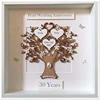 Personalised 30 Years Pearl Wedding Anniversary Family Tree Picture Frame Gift